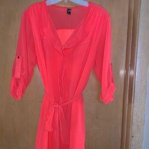 Bright Coral Sheer Dress